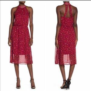 SUPERFOXX Red Halter Lurex Midi Dress with slits